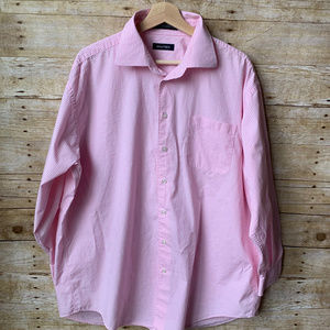 Nautica Mens Long Sleeve Button Up Pink White NWOT
